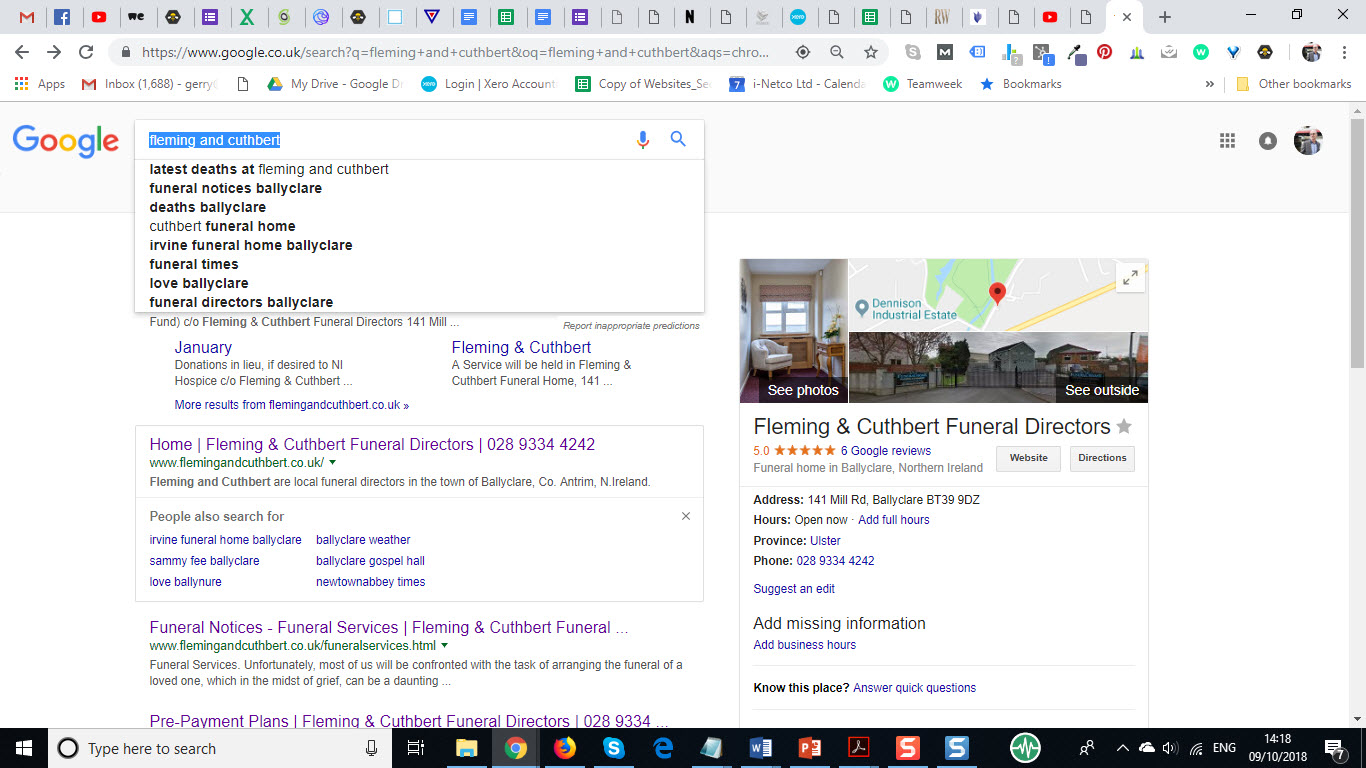 Google suggested searches F and C